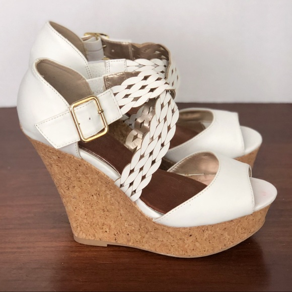 4dc8531c95d Charlotte Russe Shoes - White Braided Strap Cork Heel Wedges